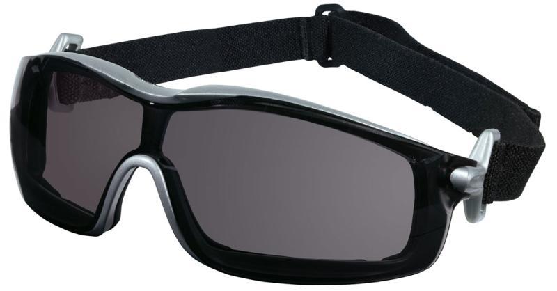 MCR Safety Rattler Gray Anti-Fog Silver Frame Safety Goggles