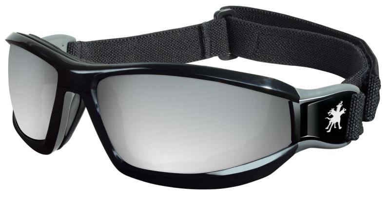 MCR Safety Reaper Silver Mirror Lens Black Head Band Safety Goggles