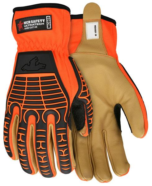 MCR Safety Ultra-Tech Orange Goatskin Palm Diamond Tech Lined Cut Resistant  Gloves