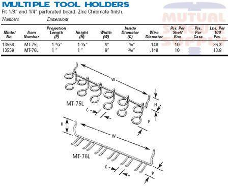 Multiple Tool Holder Zinc Plated Steel 1/8 1/4 Peg Board Hooks