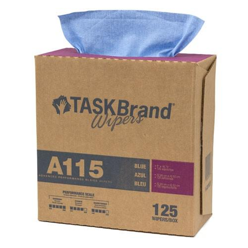 Mutual Blue Task Brand Creped Sontara Substrate Wipe, Dispenser Box of 125