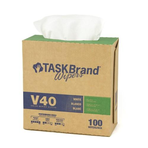 Mutual Heavy Task Brand White Towel Wiper DRC Pop Up Box of 100 Wipes