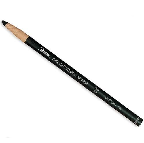 Peel-Off China Markers, Black, Dozen