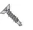 Phillips Flat Undercut Head Steel Black Zinc Plated #3 Point Self Drilling Screws