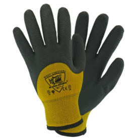 PIP Barracuda 7 Gauge Black Acrylic Dipped Knuckles 13 Gauge Yellow Nylon Gloves