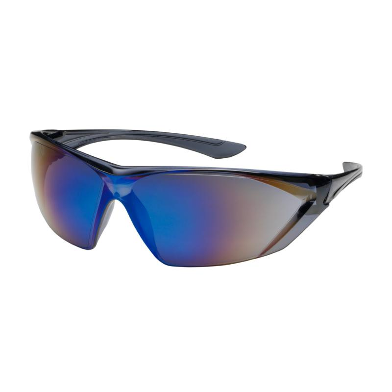 PIP Bullseye™ Blue Mirror Anti-Scratch/Fog Coated Lens Translucent Gray Temple Rimless Safety Glasses