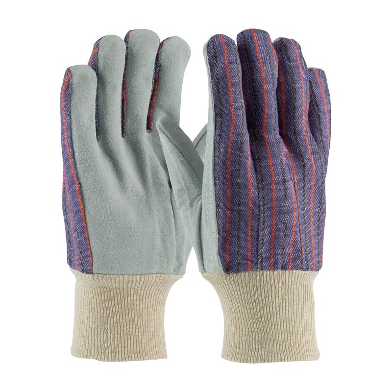 PIP Economy Grade Men's Blue Fabric Back Cowhide Leather Palm Gloves - Knitwrist