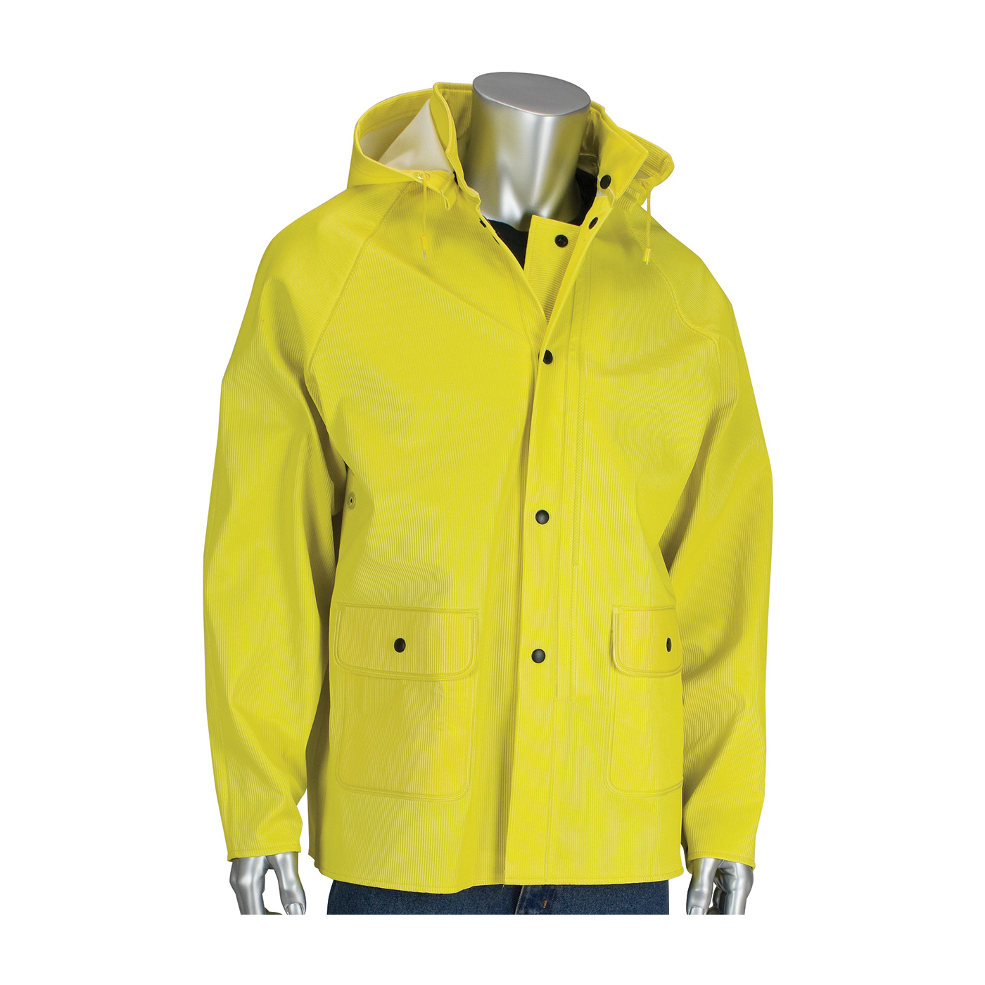 PIP Flex™ Yellow 0.65mm Ribbed PVC/Polyester Hooded Rain Jacket