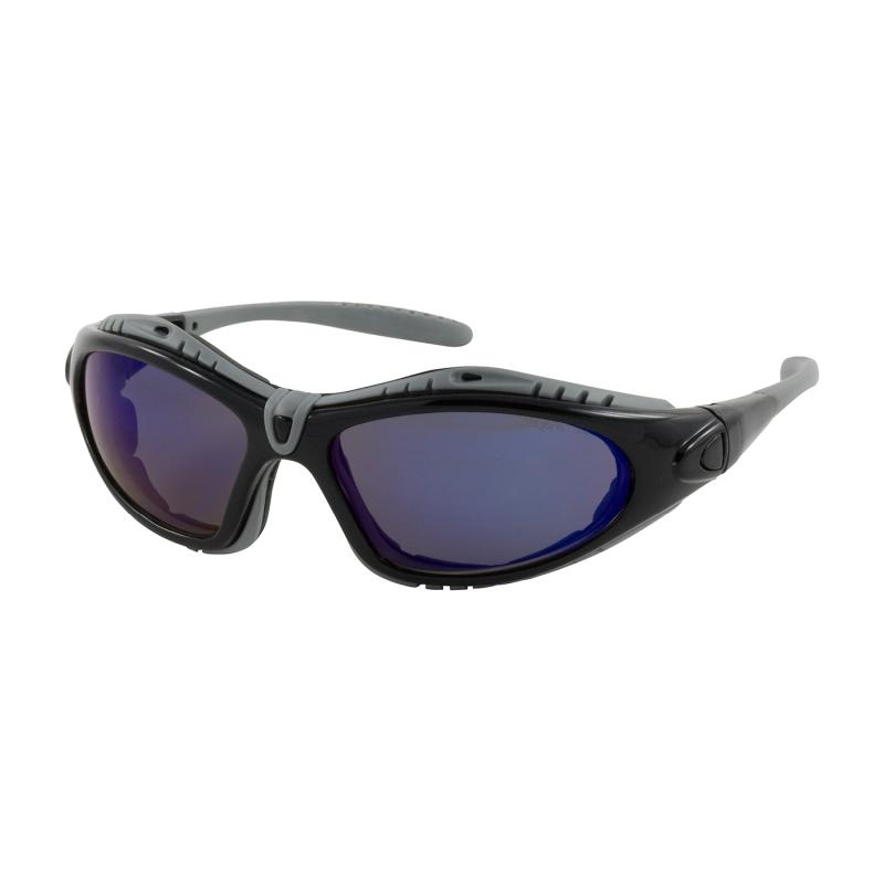 PIP Fuselage™ Blue Mirror Anti-Scratch/Fog Coated Lens Black Foam Padded Full Frame Interchangeable Safety Glasses