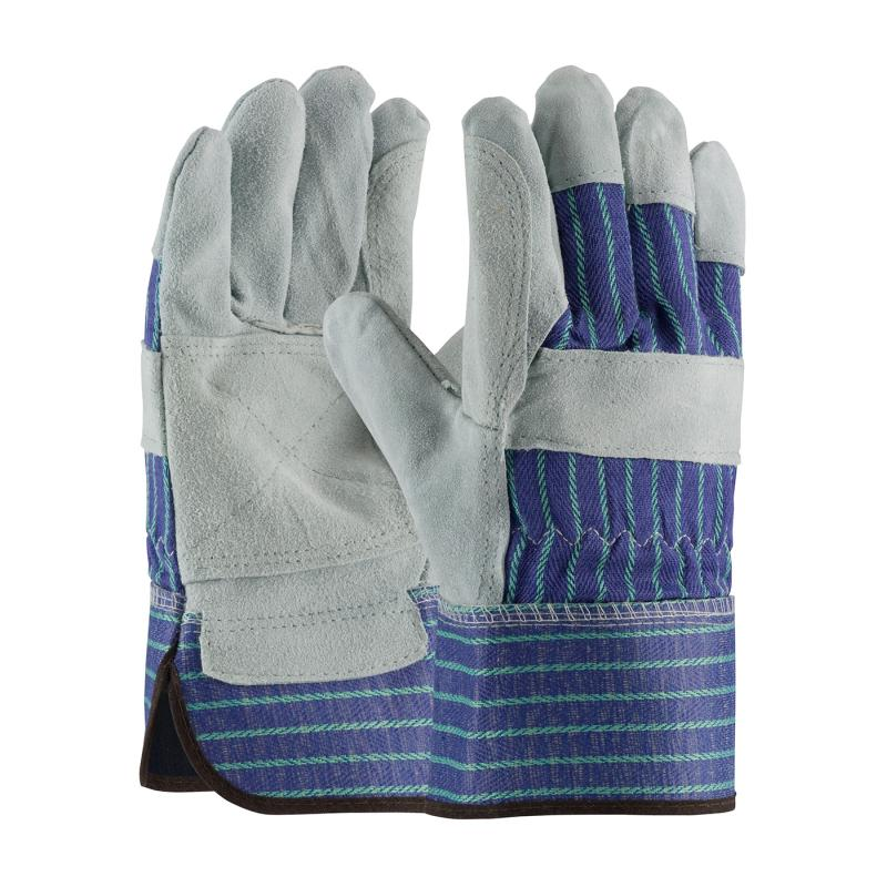 PIP Grade A/B Blue Fabric Back Shoulder Split Cowhide Leather Double Palm Gloves - Rubberized Safety Cuff