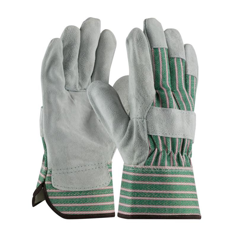 PIP Grade B Green Fabric Back Shoulder Split Cowhide Leather Palm Gloves - Rubberized Safety Cuff