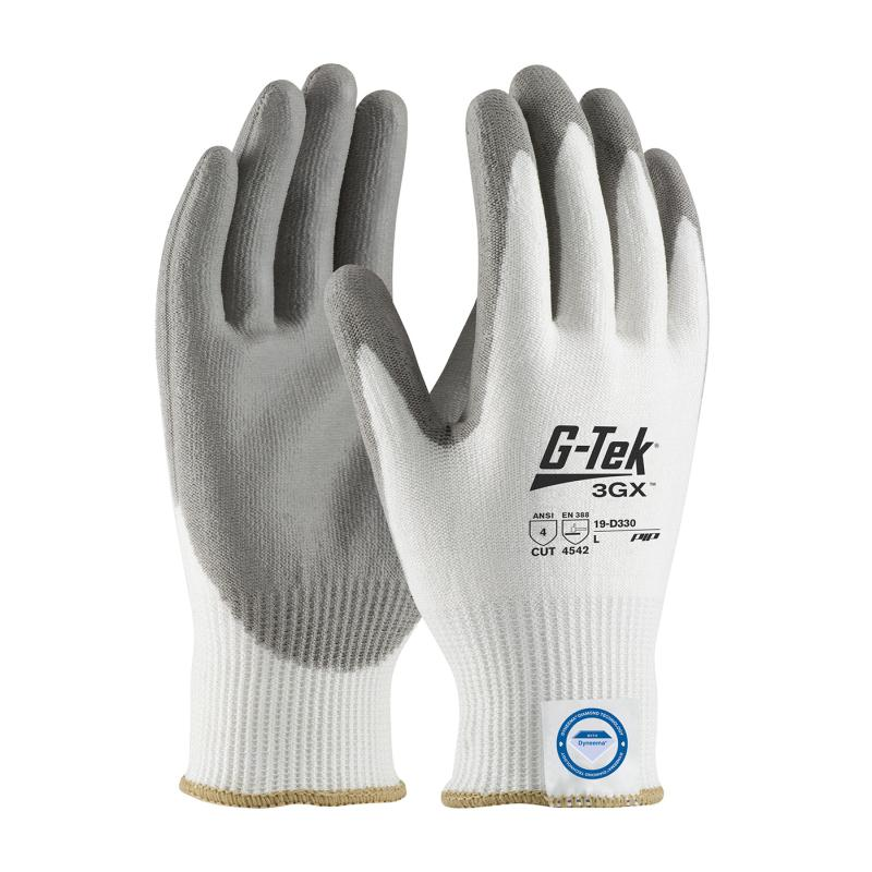 PIP G-Tek® 3GX® White/Gray 13G Seamless Knit Dyneema® Polyurethane Coated Smooth Grip Gloves