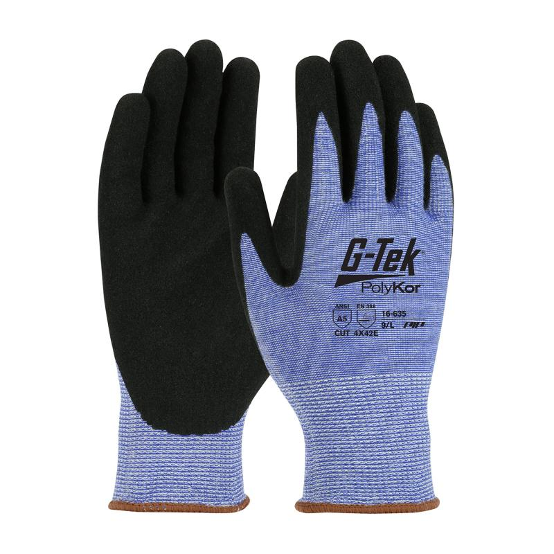 PIP® G-Tek® PolyKor® 13G Blue Seamless Knit A5 Nitrile Coated MicroSurface Grip Gloves
