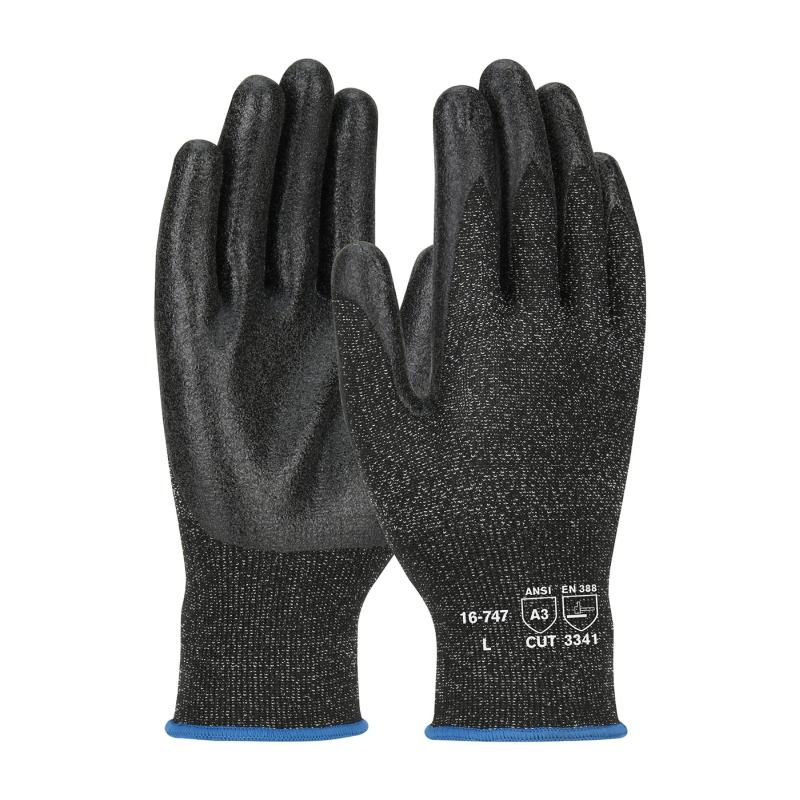 PIP G-Tek® PolyKor® Black 13G Seamless Knit A3 Smooth Grip PVC Coated Gloves