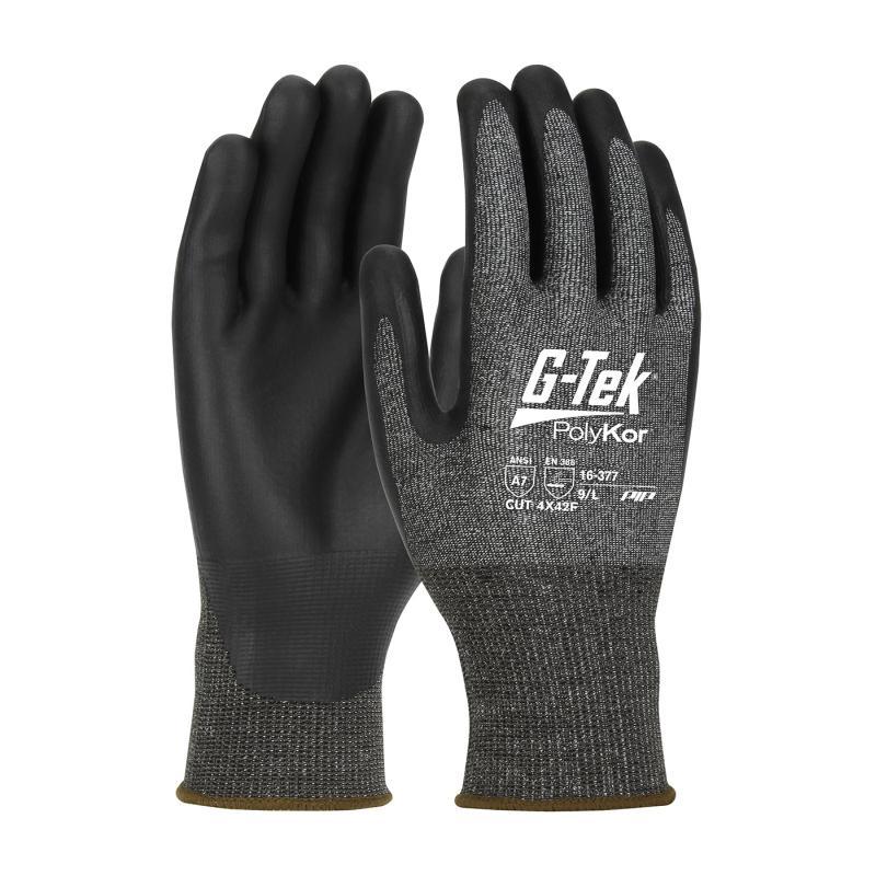 PIP G-Tek® PolyKor® X7™ 18G Black Seamless Knit Blended NeoFoam® Coated Gloves - Touchscreen Compatible