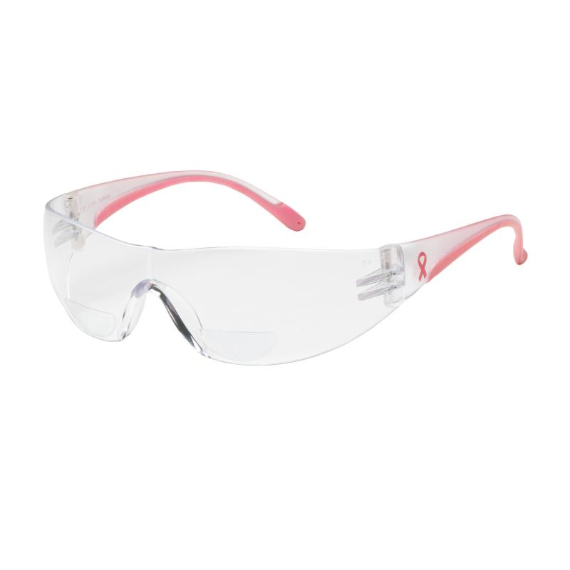PIP Lady Eva® Clear Anti-Scratch Coated Lens Pink Temple Rimless Safety Glasses - +1.00 Diopter