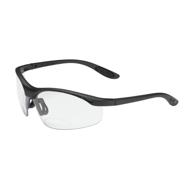 PIP Mag Readers™ Clear Anti-Scratch Coated Lens Black Frame Semi-Rimless Safety Reading Glasses - +2.00 Diopter