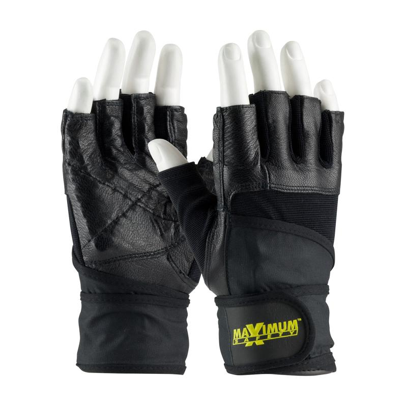 PIP Maximum Safety® Black Anti-Vibration Shock Absorbing Leather Palm Lifting Gloves