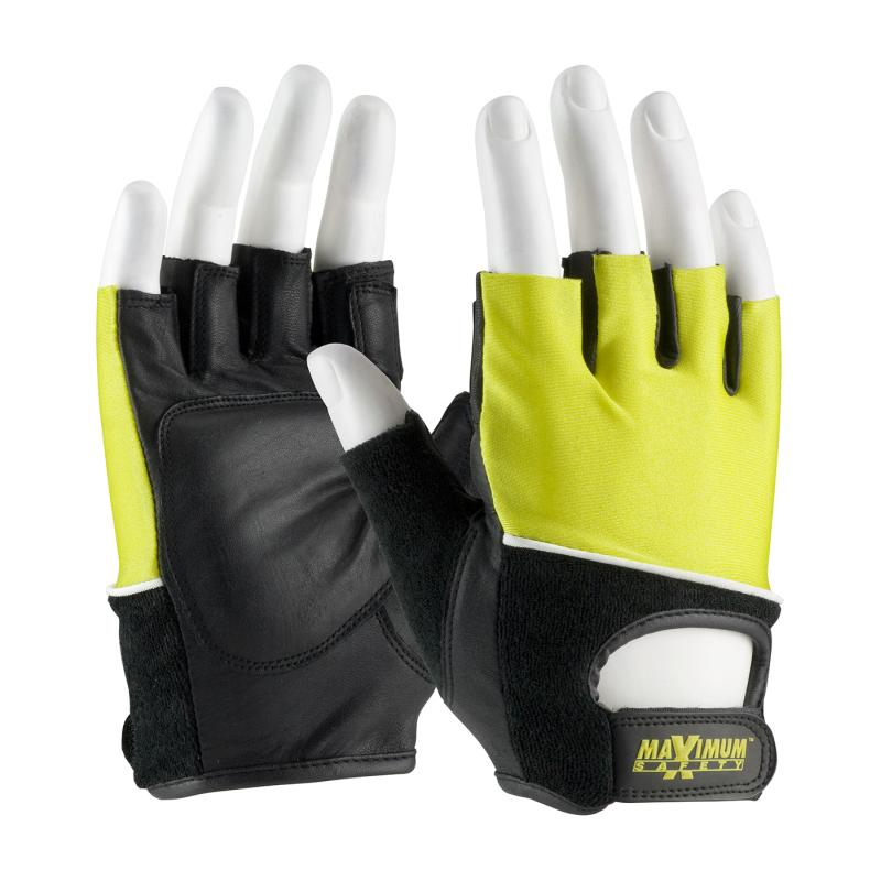 PIP Maximum Safety® Black/Yellow Reinforced Leather Palm Lifting Gloves