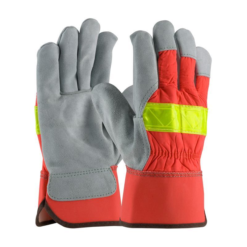 PIP Maximum Safety® Hi-Vis Orange Nylon Back Shoulder Split Cowhide Leather Palm Gloves - Large