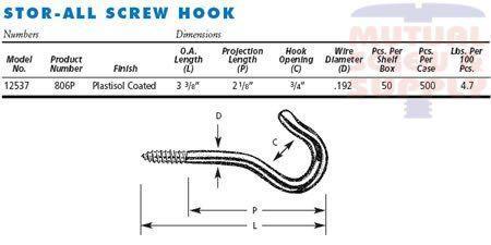 Plastisol Screw Coated Stor-All Hooks