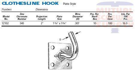 Plate Style Zinc Plated Steel Clothesline Hooks