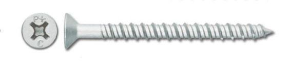 Powers 8711SD 1/4 x 2-1/4 White Perma-Seal Tapper+ Screw Anchor, Trim Flat Head