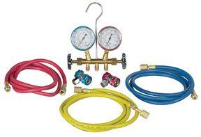 Robinair 48134A R134 Brass Manifold, Hose Set And Service Couplers