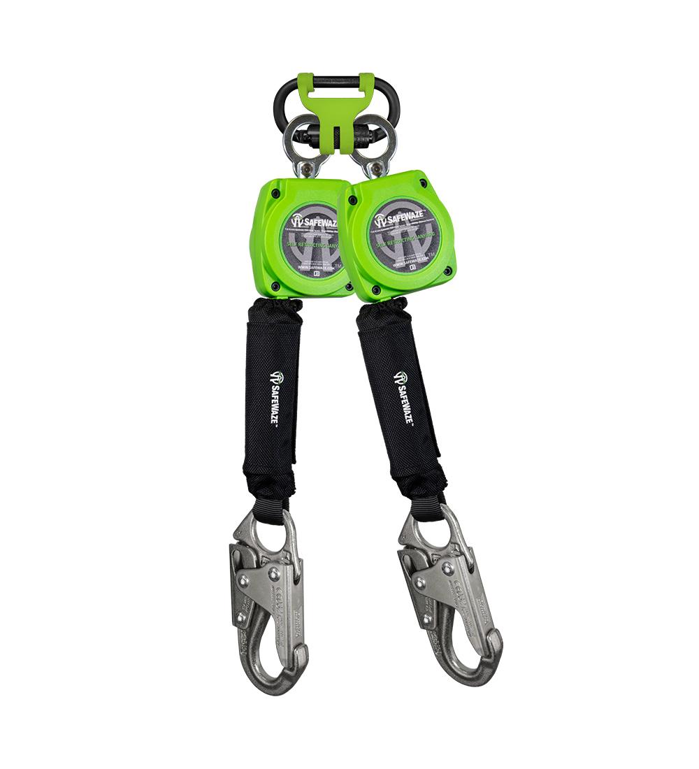 SafeWaze 6' Web Retractable Dual Leg Lifeline w/ Steel Snap Hooks & FS1014 BWB