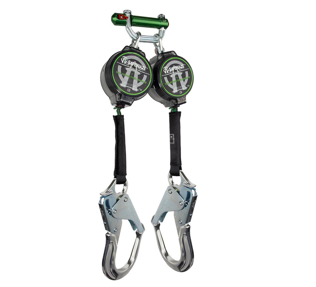 SafeWaze 7' Dual Leg Web Self Retracting Lanyard w/ Aluminum Rebar Hooks