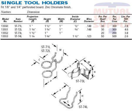 Single Tool Holder Zinc Plated Steel 1/8 1/4 Peg Board Hooks