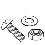 Slotted Round Head with Nuts & Flat Washer Steel Zinc Plated Machine Screw Kit