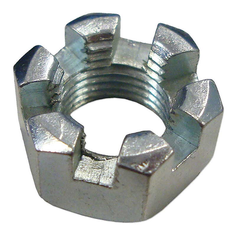 Slotted Steel Zinc Plated Finish Hex Nuts