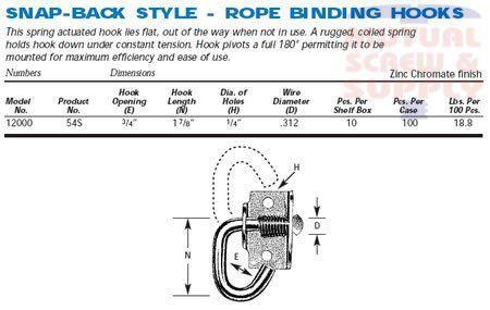 Snap-Back Style Zinc Plated Steel Rope Binding Hooks