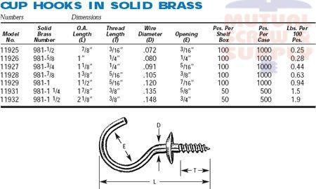 Solid Brass Cup Hooks