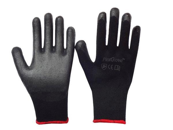 String Knit Cotton Glove with Black Latex Dipped Palm