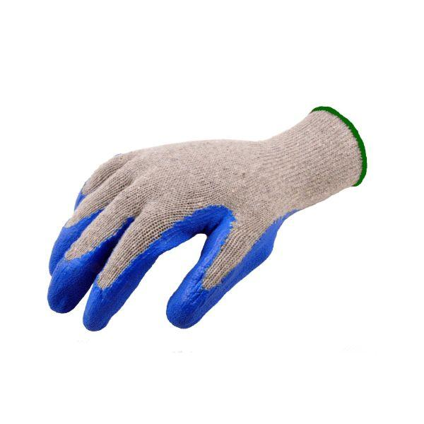 String Knit Cotton Glove with Blue Latex Dipped Palm