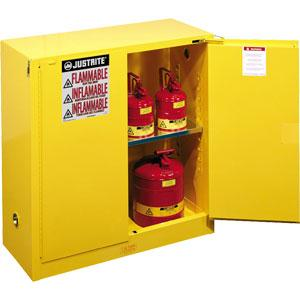 Sure-Grip® EX Safety Cabinets w/ Self-Closing Doors, 30 gal, 44H x 43W x 18D, Yellow – FM, NFPA, OSHA, Uniform Fire Code