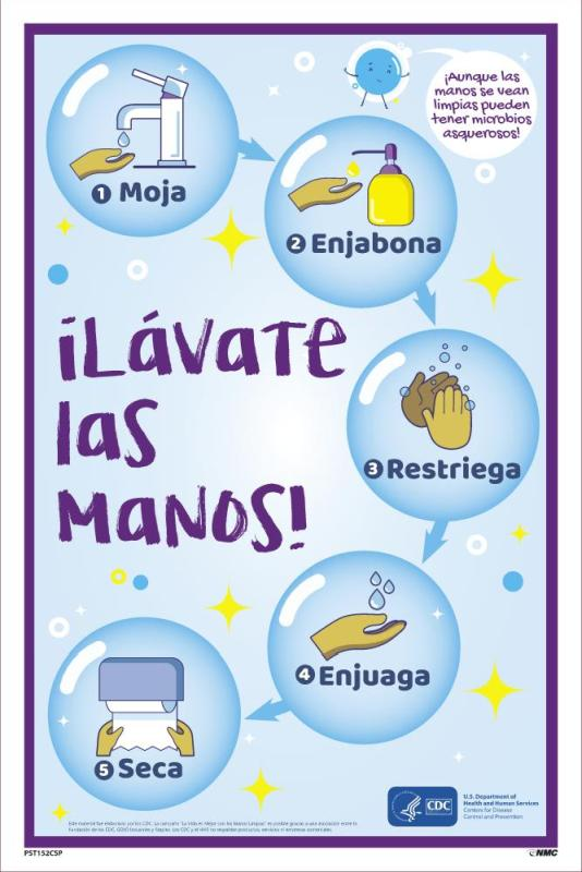 WASH YOUR HANDS STEP-BY-STEP, POSTER, SPANISH