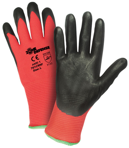 West Chester 701CRNF Zone Defense™ Red Nylon Shell with Black Nitrile Foam Palm Coat Gloves