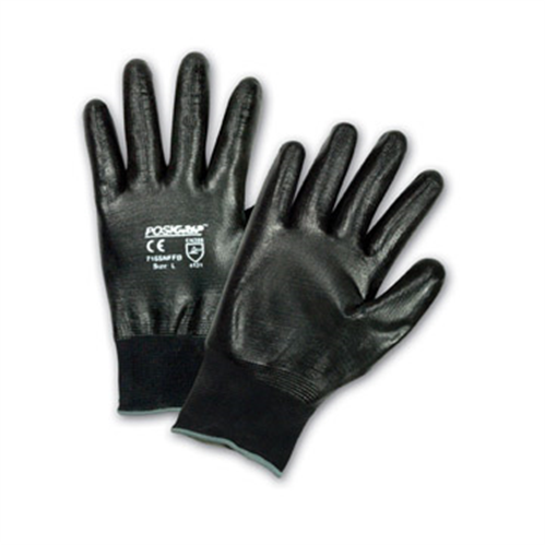 West Chester 715SNFFB Black Flat Nitrile Full Dip Gloves