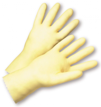 West Chester Economy 16 Mil Unlined Amber Latex Gloves