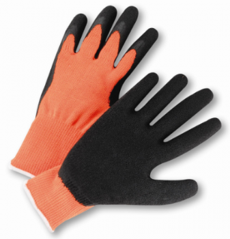 West Chester Hi-Viz Black Latex Coated Palm Orange String Knit Gloves