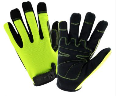 West Chester Hi-Viz Black/Green Spandex High Dexterity Gloves