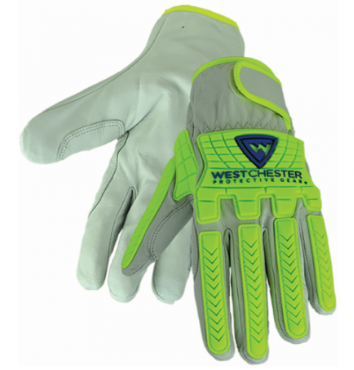 West Chester Hi-Viz Gray/Yellow A7 Palm Goat Leather TPR Driver Gloves