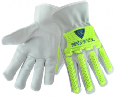 West Chester Hi-Viz TPR Protected Insulated Cowhide Leather Driver Gloves