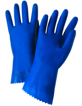 West Chester Posigrip 18 Mil Premium Unlined Blue Latex Chemical Resistant Gloves (Bulk Packed)