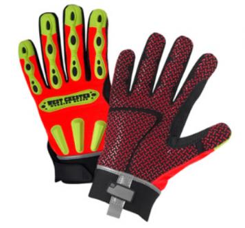 West Chester R2 Orange Safety Rigger Hook & Loop Wrist High Dexterity Gloves