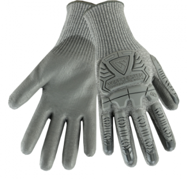 West Chester R2 Silver Fox Gray PU Palm Coated Speckle BOH & FINGER TPR Protection HPPE Gloves