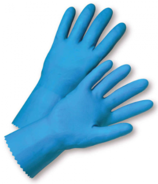 West Chester Standard 18 Mil Blue Flock Lined Latex Chemical Resistant Gloves